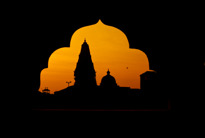 Hindu Temples seen from another temple arch in Mumbai, India